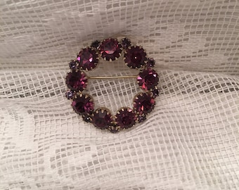Faux Amethyst Circle Brooch ~ Purple Stone Round Brooch Pin ~ Costume Jewelry ~ Vintage