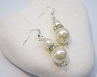 Bridal Pearl Drop  Earrings - White Pearl - silver Earrings - Vintage Style