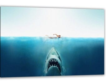 JAWS THE MOVIE Great White Shark Canvas Wall Art