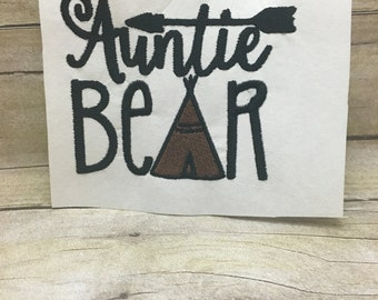 Auntie Bear mbroidery Design