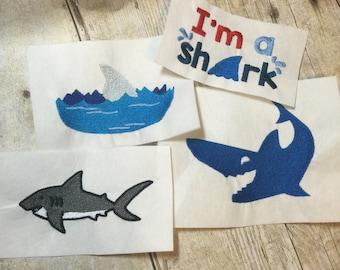 Sharks Embroidery Design Package, Shark Fin Embroidery Design Package