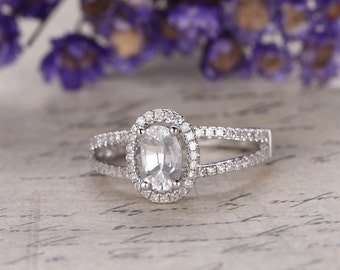 white Sapphire engagement ring with Diamond,Solid 14k white gold,promise ring,bridal,oval custom made fine jewelry,pave set