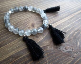 Bracelet with Cloud Quartz and black tassels