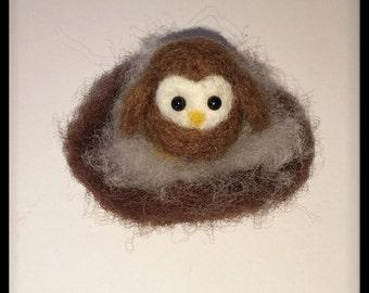 Needle Felting, Needle Felted Animal, Baby Owl in Nest, Needle Felted Owl, Owlet, Owl Theme, Plant Decoration