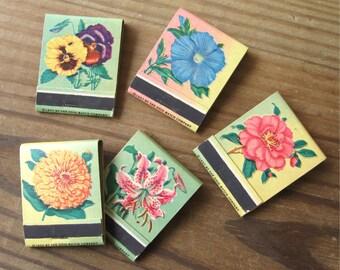 Vintage Ohio Matchbooks 1957 Lot of 5 Flower Designs Unused Matches Intact