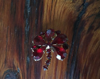 Vintage Czecho Red jeweled Brooch