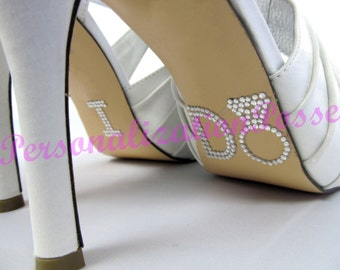 I Do Shoe Stickers with Ring - Clear Rhinestones