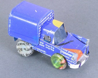 Miniature recycled (tin can) truck - handmade in Madagascar