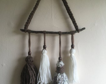 Handmade Yarn and Wood Wall Decor