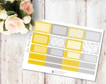 Planner Stickers for the vertical Erin Condren Life Planner - Yellow Bird Kit Haf Boxes Sheet