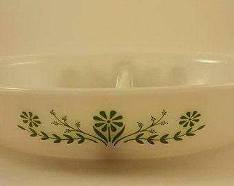 Vintage Jeannette Glasbake Divided Serving Dish Green Daisy and Primrose Print J2352