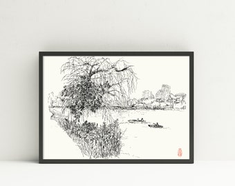 Lake1- Art Print - Pen & Ink-- hand drawn home portrait in ink -black and white- Minneapolis Lakes