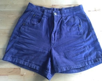 Energie indigo high-waisted flared cotton shorts
