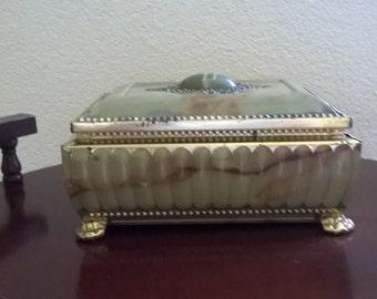 Jewelry box jewelry box Casket Tin vintage Pearl effect