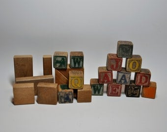 Vintage wood alphabet building blocks nursery, 13 alphabet blocks and 9 plain blocks