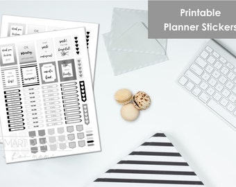 "Printable planner Stickers, black, gray and white color. US Letter Size (8.5""x11""), Portrait. To do digital stickers. Instant download."