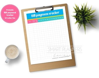 "Bill payment tracker planner insert, printable. Bill monthly checklist. US Letter (8.5""x11"") Size, Portrait. Instant download."