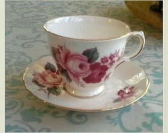 Queen Anne Teacup and Saucer Bone China Made in England