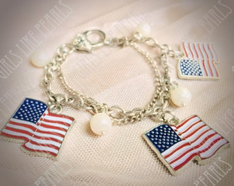 4th of July Charm Bracelet - United States Flags and Pearls