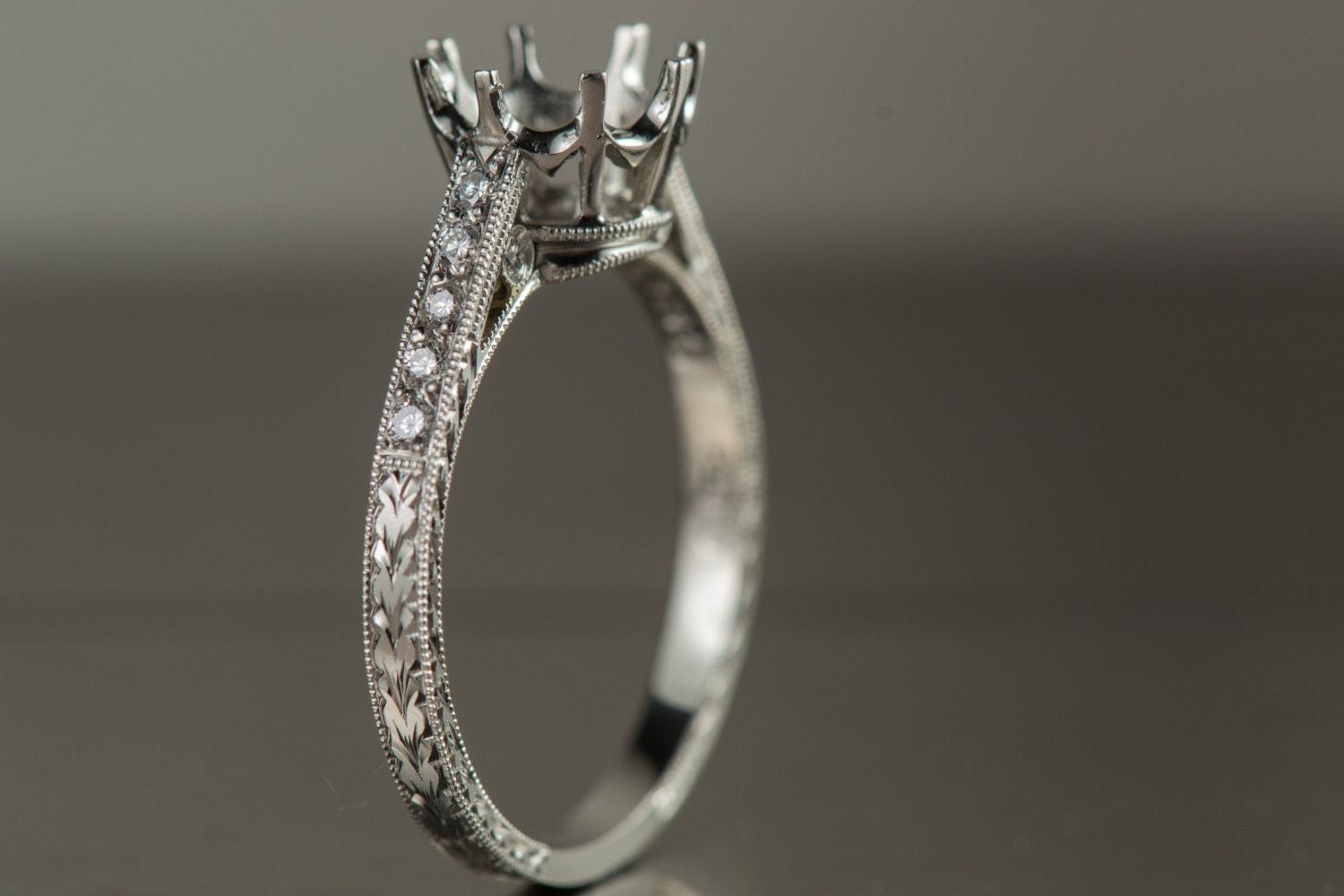 antique style engagement ring platinum engagement ring with