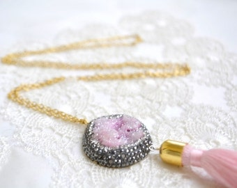 pink drusy pendant tassel necklace, druzzy jewelry, druzy rawstone pink tassel, 18 k gold filled necklace, turkish necklace, bridesmaid gift