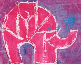 Indian Elephant. Original artwork. An ink, watercolour, and wax drawing on paper.