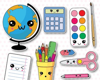 50% OFF SALE, School supplies clip art, back to school clipart, kawaii school clipart, school supplies clipart, back to school clipart