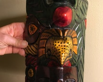 Tribal Mask Hand Carved and Painted Vibrant Bright Colors Represents Mayan Culture