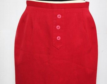 Red skirt with buttons