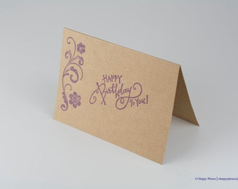 Purple Happy Birthday card