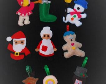 Handcrafted Felt Christmas Ornaments - Set of 10