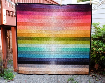 Modern Ombre Rainbow Striped Baby Quilt