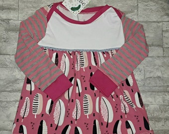 """Long sleeve dress """"pink feathers"""""""