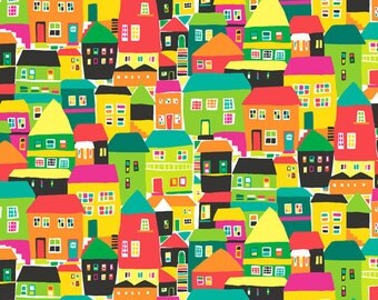 Rio Houses Green | Colorful Fabric | City | Jane Dixon | Andover