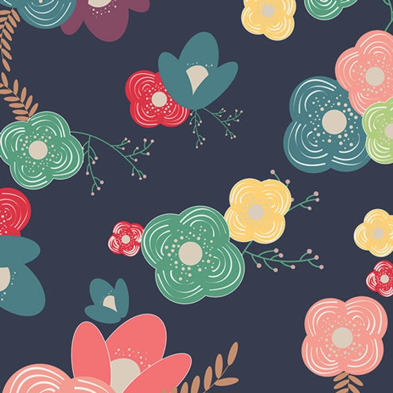 Modern Floral Fabric | Pretty Flower Fabric | Navy | Stylized Flower Print | Art Gallery | Pink | Teal | Yellow | Red | Happy Home Decor