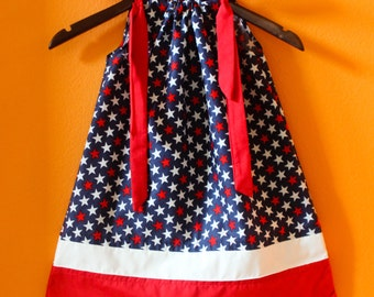 4th of July dress; Pillowcase Dress; Red-white-blue dress; Size: Custom made to size