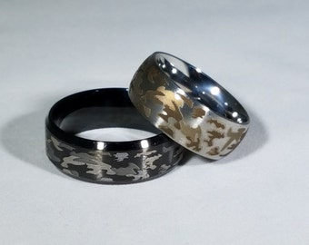 personalize your rings white black camo set comfort fit - Camo Wedding Rings Sets