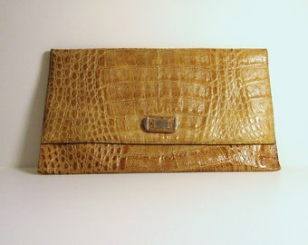 Vintage Eighties Ochre Moc-croc Clutch Bag