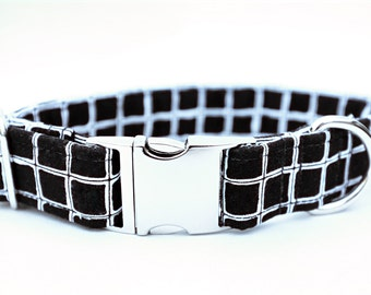 Black & white dog collar, Metal hardware, Monochrome squares design, Side-release collar, Custom-made