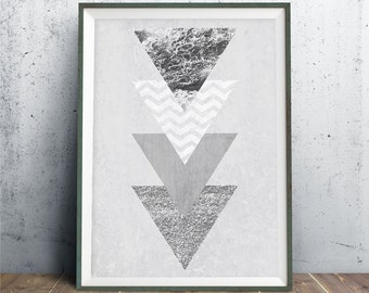 Geometric Art, 8x10, Triangle Print, Triangle Art, Scandinavian Print, Minimalist Wall Decor, Purple Triangle Print, Purple Geometric Print