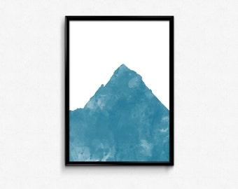 Mountain Range Art Print | Downloadable Abstract Mountain Art | Mountain Watercolor Print | Country Art Print | Wilderness Art Print