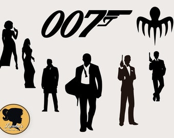 007 Digital Clipart Images, Instant Download, 007 silhouette. Movie silhouette dxf, files , files for cricut, vinyl, svg files