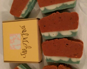 Juicy watermelon cold process soap