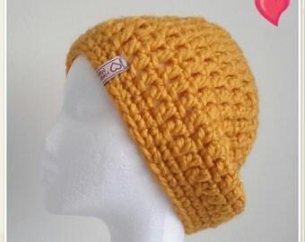 Crochet Hat - Chunky Mustard Beanie