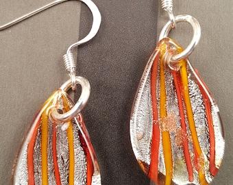 Orange & Gold Painted Glass Leaf Earrings