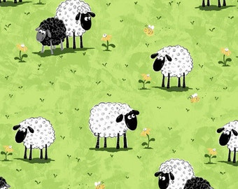 """Susybee Fabric : Lewe, the ewe - Sheep on a Green Grass Meadow Fabric  100% cotton fabric by the yard 36""""x42"""" (A10)"""