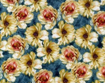 """Floral Fabric: Marche de Fleurs - Packed Flowers Teal  100% cotton fabric by the yard  36""""x44"""" (C195)"""
