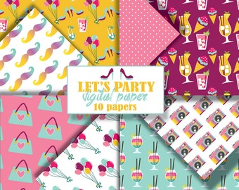 Party digital paper. Girls night scrapbook paper. Instant download digital paper sale.Celebration seamless pattern paper. Paper pack summer.