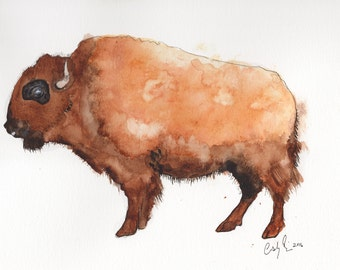Tatonka Bison Buffalo Watercolor Print