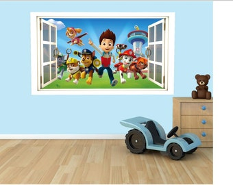 Paw Patrol 3D Effect Graphic Wall Vinyl Sticker Decal